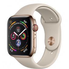 Apple Watch Series 4, 44мм стальной корпус цвета золото, cпортивный ремешок бежевого цвета