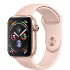 Apple Watch Series 4, 44мм корпус из алюминия цвета золото, спортивный ремешок розовый песок