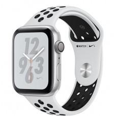 Apple Watch Nike+ Series 4, 44мм корпус из алюминия цвета серебро, спортивный ремешок цвета чистая платина/чёрный