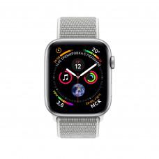 Apple Watch Series 4, 40мм корпус из алюминия цвета серебро, спортивный браслет белая ракушка
