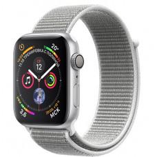 Apple Watch Series 4, 44мм корпус из алюминия цвета серебро, спортивный браслет белая ракушка