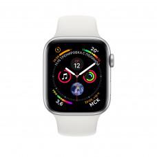 Apple Watch Series 4, 40мм корпус из алюминия цвета серебро, спортивный ремешок белого цвета
