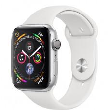 Apple Watch Series 4, 44мм корпус из алюминия цвета серебро, спортивный ремешок белого цвета