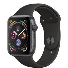 Apple Watch Series 4, 44мм корпус из алюминия серый космос, спортивный ремешок чёрного цвета