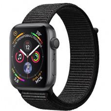 Apple Watch Series 4, 44мм корпус из алюминия серый космос, спортивный браслет чёрного цвета