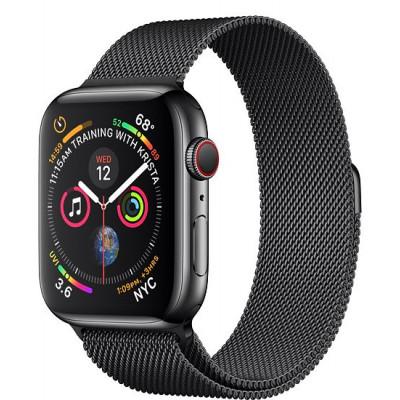 Apple Watch Series 4, 44мм стальной корпус цвета космический черный, миланский браслет черного цвета