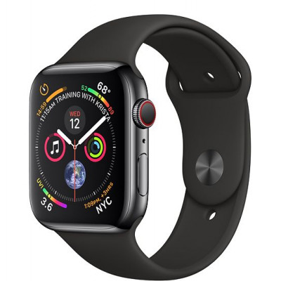 Apple Watch Series 4, 44мм стальной корпус цвета космический черный, cпортивный ремешок черного цвета