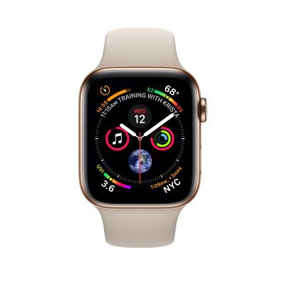 Apple Watch Series 4, 40мм стальной корпус цвета золото, cпортивный ремешок бежевого цвета
