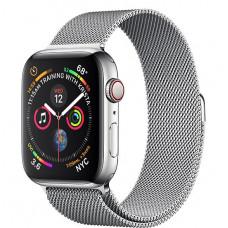 Apple Watch Series 4, 44мм стальной корпус цвета серебро, миланский браслет белого цвета