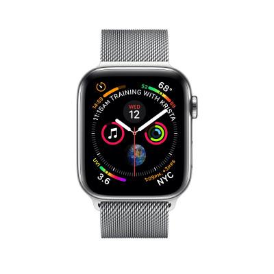 Apple Watch Series 4, 40мм стальной корпус цвета серебро, миланский браслет белого цвета
