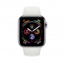 Apple Watch Series 4, 40мм стальной корпус цвета серебро, cпортивный ремешок белого цвета