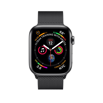 Apple Watch Series 4, 40мм стальной корпус цвета космический черный, миланский браслет черного цвета