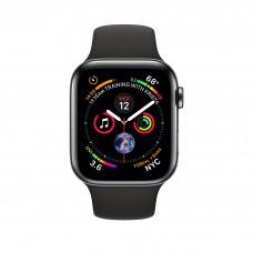 Apple Watch Series 4, 40мм стальной корпус цвета космический черный, cпортивный ремешок черного цвета