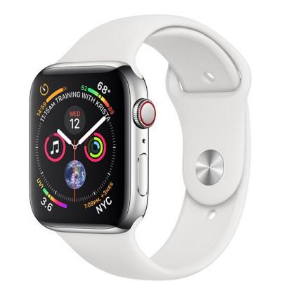 Apple Watch Series 4, 44мм стальной корпус цвета серебро, cпортивный ремешок белого цвета