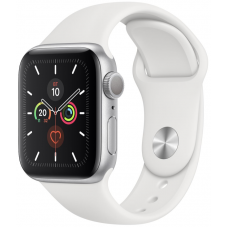 Apple Watch Series 5 44mm Silver Aluminum Case with White Sport Band