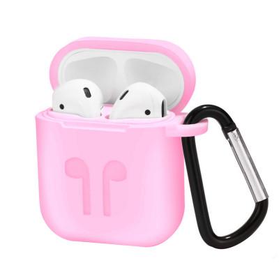 Чехол для AirPods силиконовый, розовый
