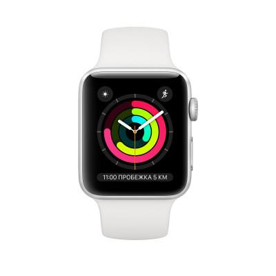Apple Watch Series 3, 38 mm Silver Aluminum Case, White Band корпус 38 мм из серебристого алюминия, спортивный ремешок белого цвета