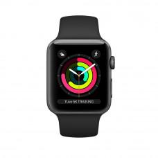 Apple Watch Series 3, 38 mm Space Grey Case, Black Band корпус 38 мм из алюминия цвета «серый космос», спортивный ремешок чёрного цвета