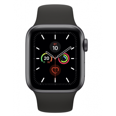 Apple Watch Series 5 40mm Space Gray Aluminum Case with Black Sport Band