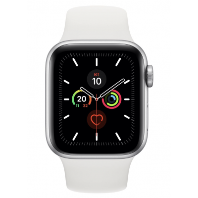 Apple Watch Series 5 40mm Silver Aluminum Case with White Sport Band