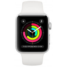 Apple Watch Series 3 42mm Silver Aluminum Case with White Sport Band