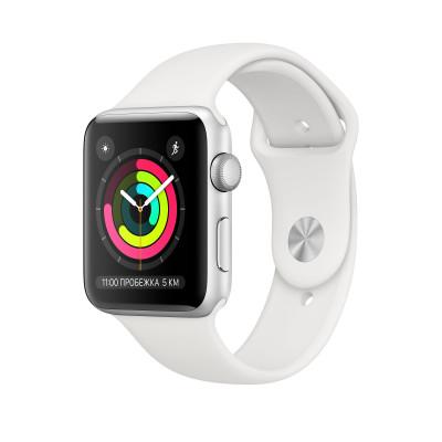 Apple Watch Series 3, 42 mm Silver Aluminum Case, White Band корпус 42 мм из серебристого алюминия, спортивный ремешок белого цвета
