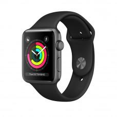 Apple Watch Series 3, 42 mm Space Grey Case, Black Band корпус 42 мм из алюминия цвета «серый космос», спортивный ремешок черного цвета