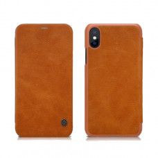 Чехол-книжка Nillkin для iPhone X / XS коричневый кожаный